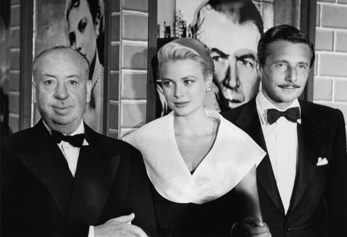 Alfred Hitchcock, Grace Kelly, and Oleg Cassini at the Premier of Rear Window
