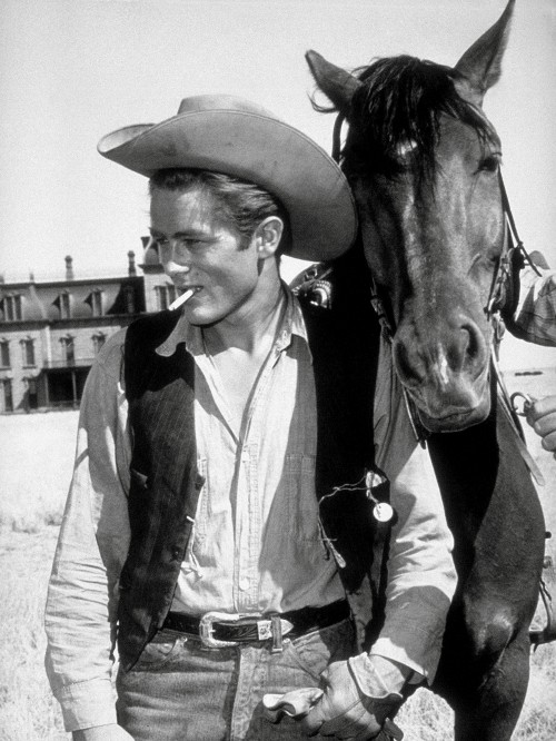 """James Dean with Horse in """"Giant"""""""