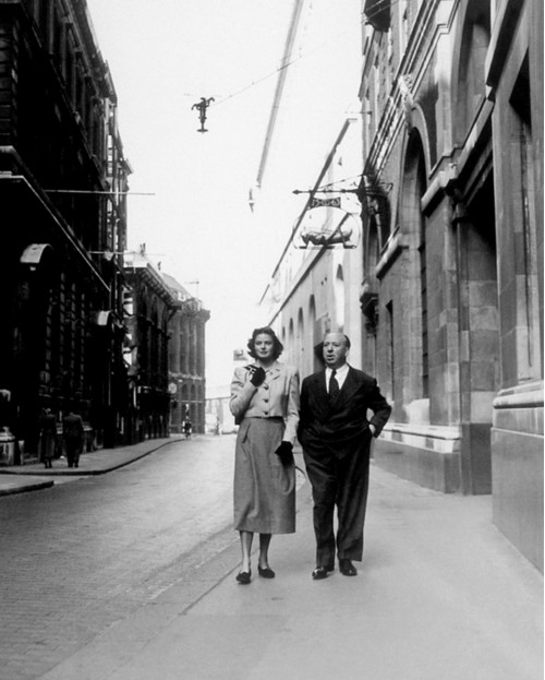 Alfred Hitchcock with Ingrid Bergman in London