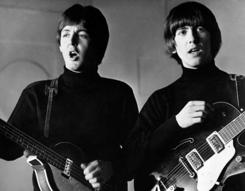 Paul McCartney and George Harrison of The Beatles