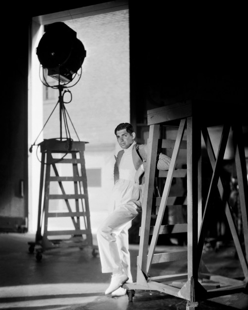Clark Gable Posed on Sound Stage