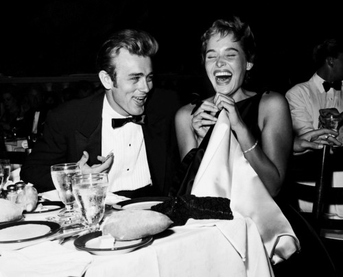 James Dean and Ursula Andress Laughing at Dinner